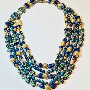 Antique Eastern Asia Kyanite Bead Silver Necklace